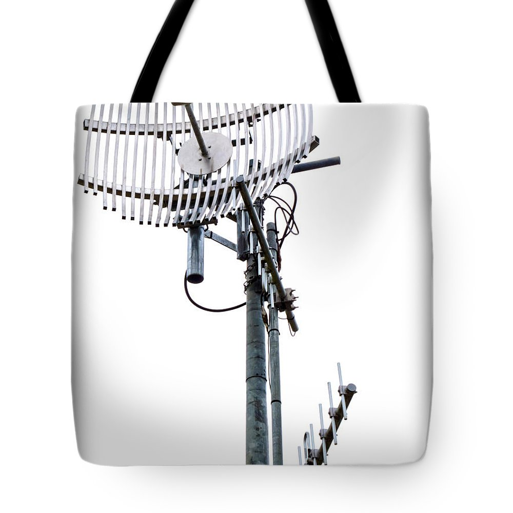 Aerial Tote Bag featuring the photograph Metal Telecom Tower And Antennas Isolated On White by Stephan Pietzko