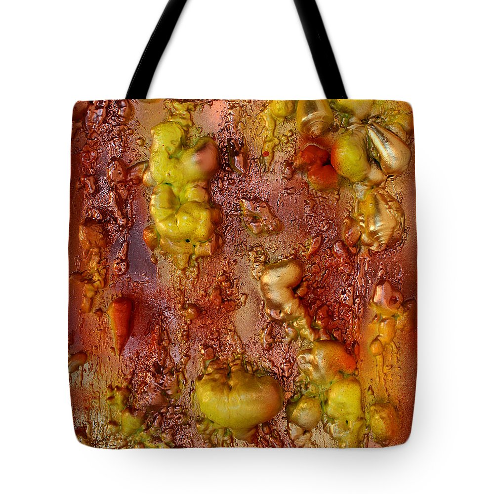 Abstract Paintings Tote Bag featuring the painting Metallic Fantasy by Julia Apostolova