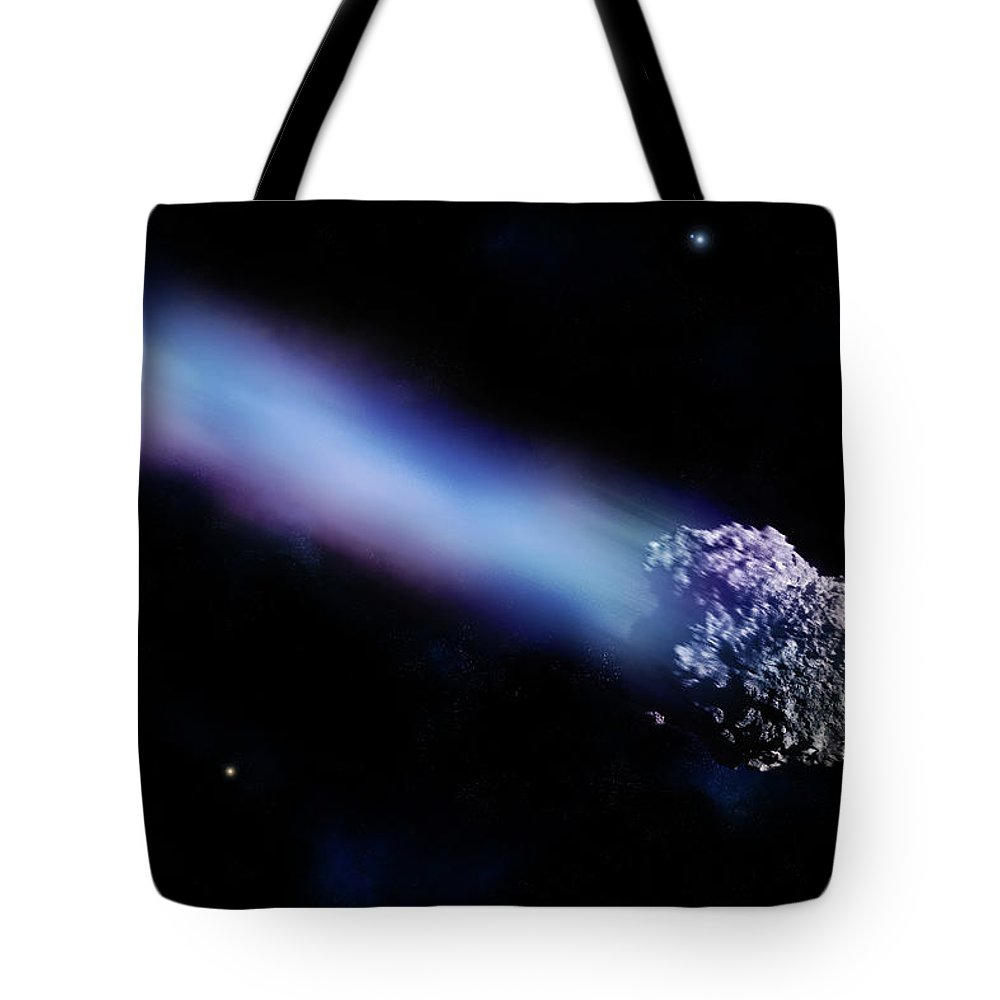 Comet Tote Bag featuring the digital art Meteor With Colorful Tail by Maciej Frolow