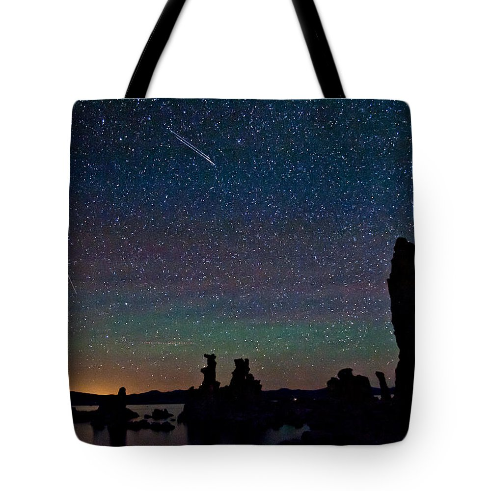 Night Tote Bag featuring the photograph Meteors Over Mono Lake by Cat Connor