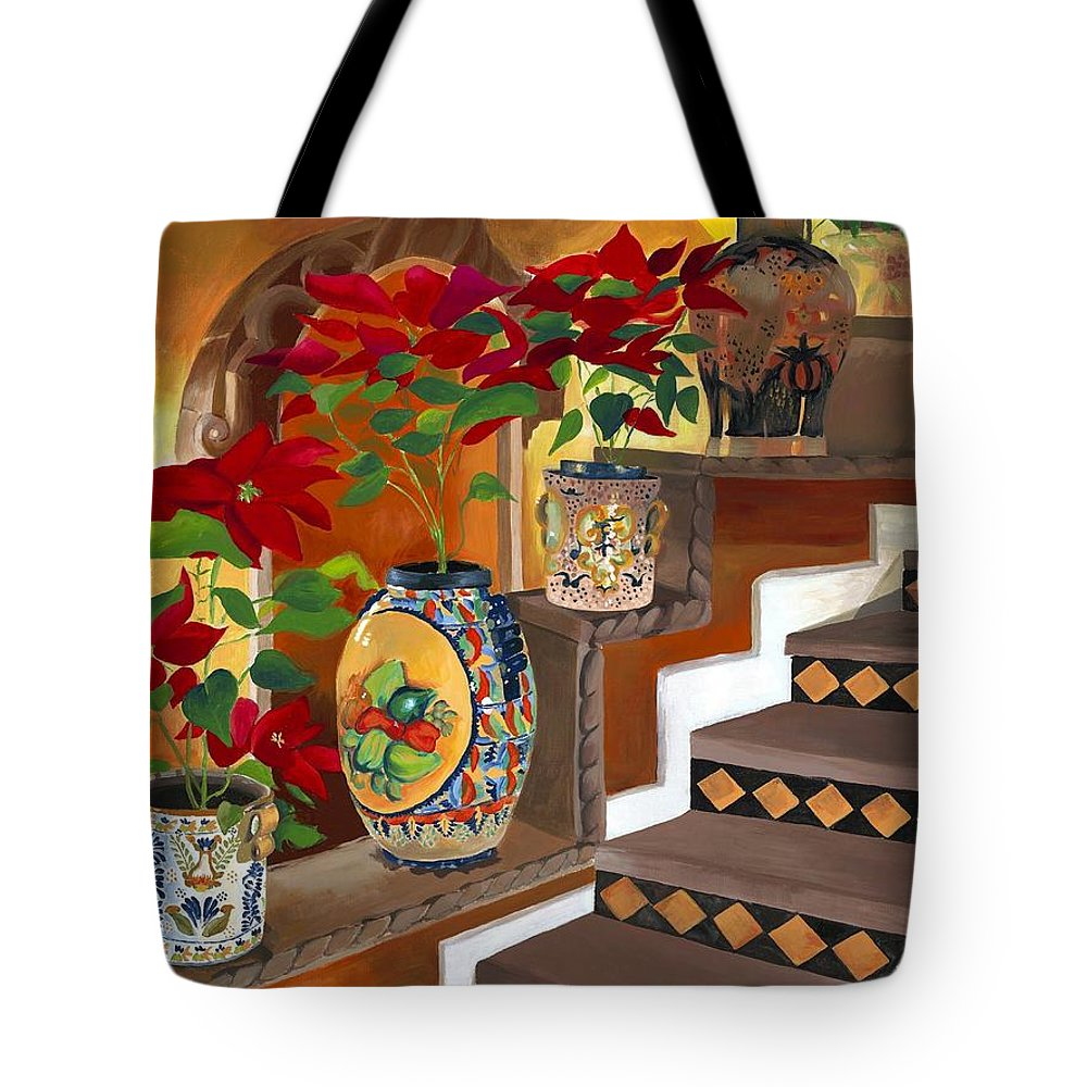 Mexican Pottery Tote Bag featuring the painting Mexican Pottery On Staircase by Judy Swerlick