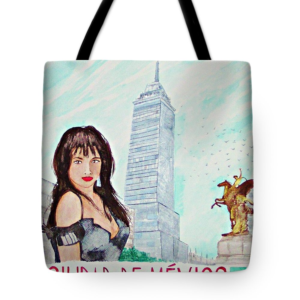 Mexico Cityscape Woman Skyline Travel Tote Bag featuring the painting Mexico City 2008 by Ken Higgins