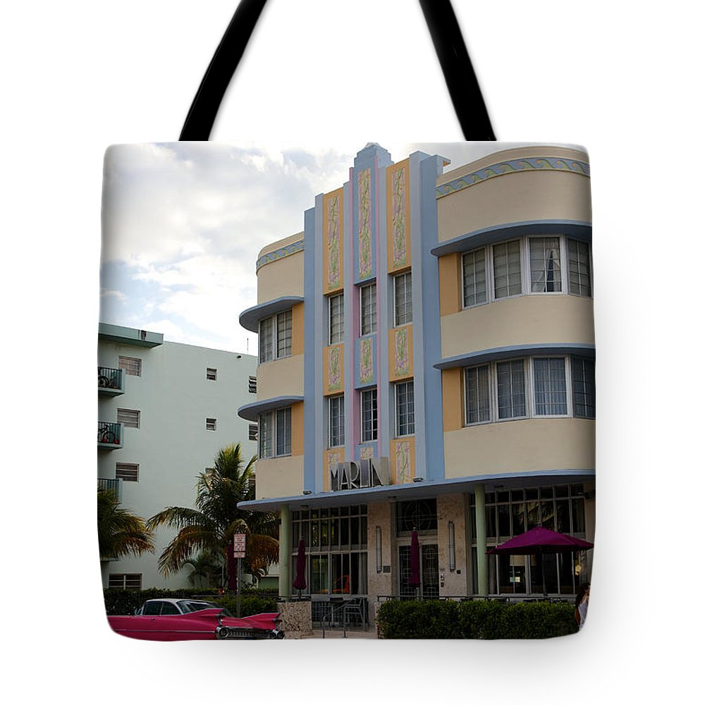 Architectural Tote Bag featuring the photograph Miami Art Deco by Jannis Werner