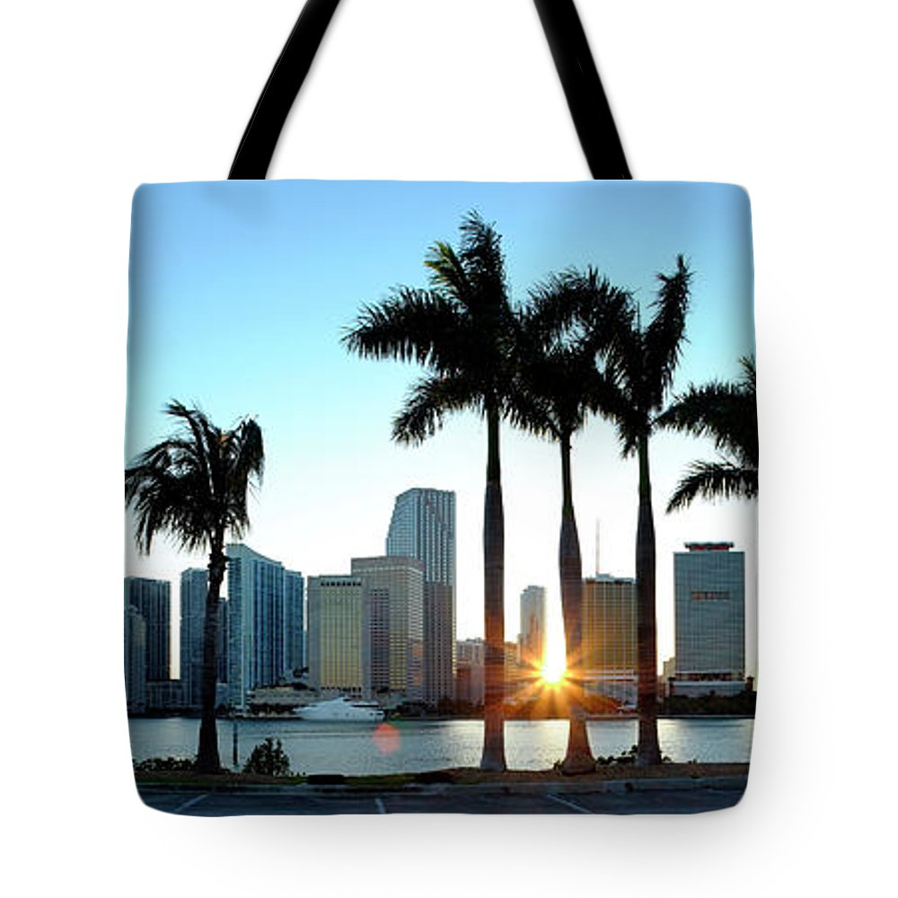 Downtown District Tote Bag featuring the photograph Miami Skyline Viewed Over Marina by Travelpix Ltd