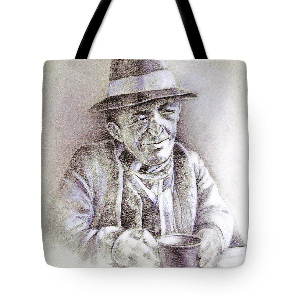 Portrait Michael Anderson Tote Bag featuring the painting Michael J Anderson by Miki De Goodaboom