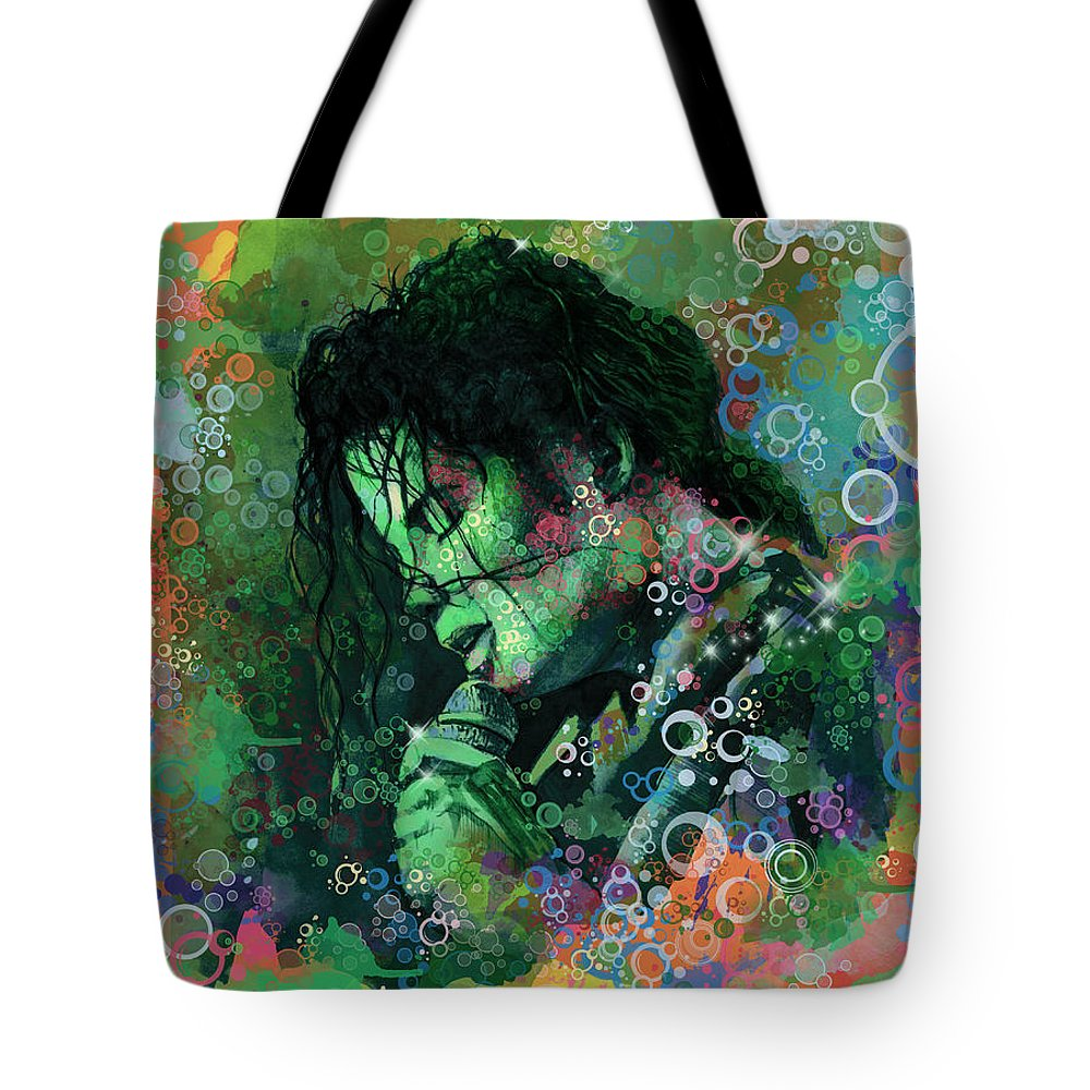 Michael Jackson Tote Bag featuring the painting Michael Jackson 15 by Bekim M