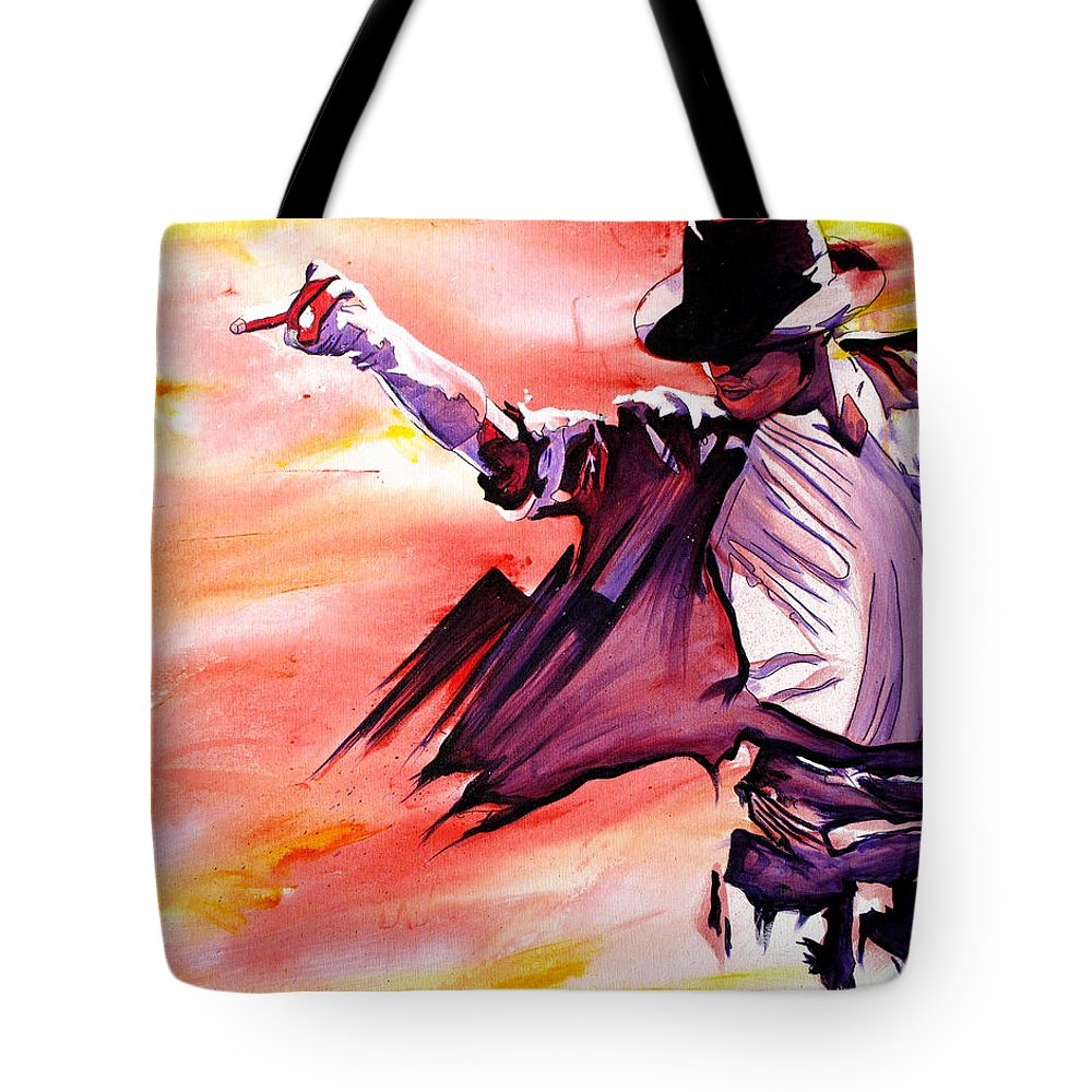 Michael Jackson Tote Bag featuring the painting Michael Jackson-billie Jean by Joshua Morton