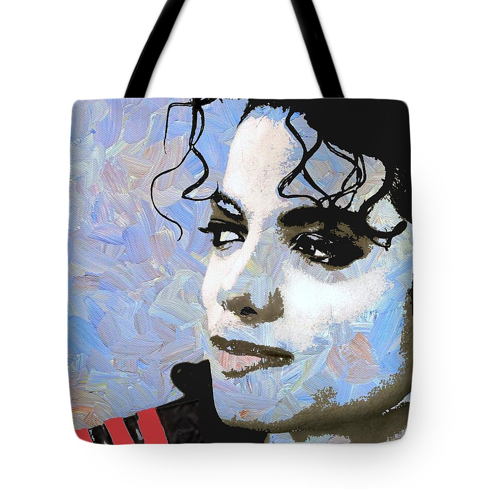 Michael Jackson Tote Bag featuring the digital art Michael Jackson Blue And White by Linda Mears