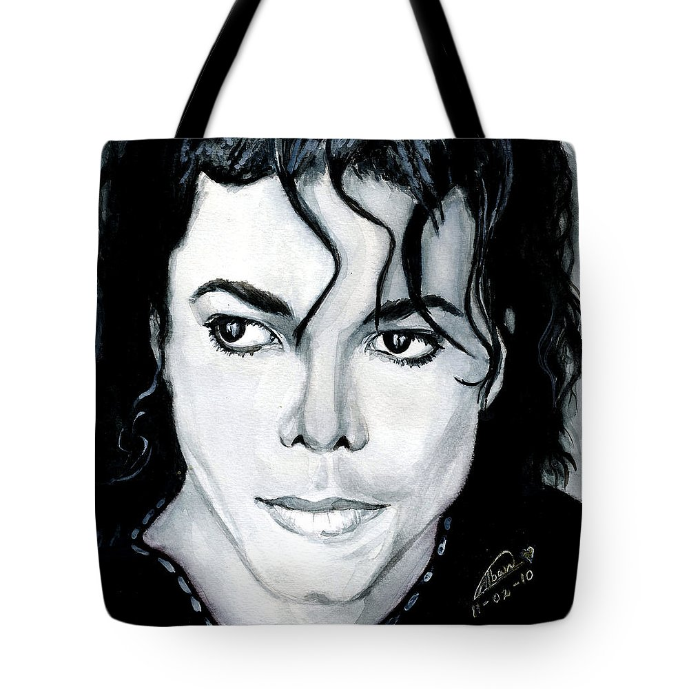 Michael Jackson Tote Bag featuring the painting Michael Jackson Portrait by Alban Dizdari