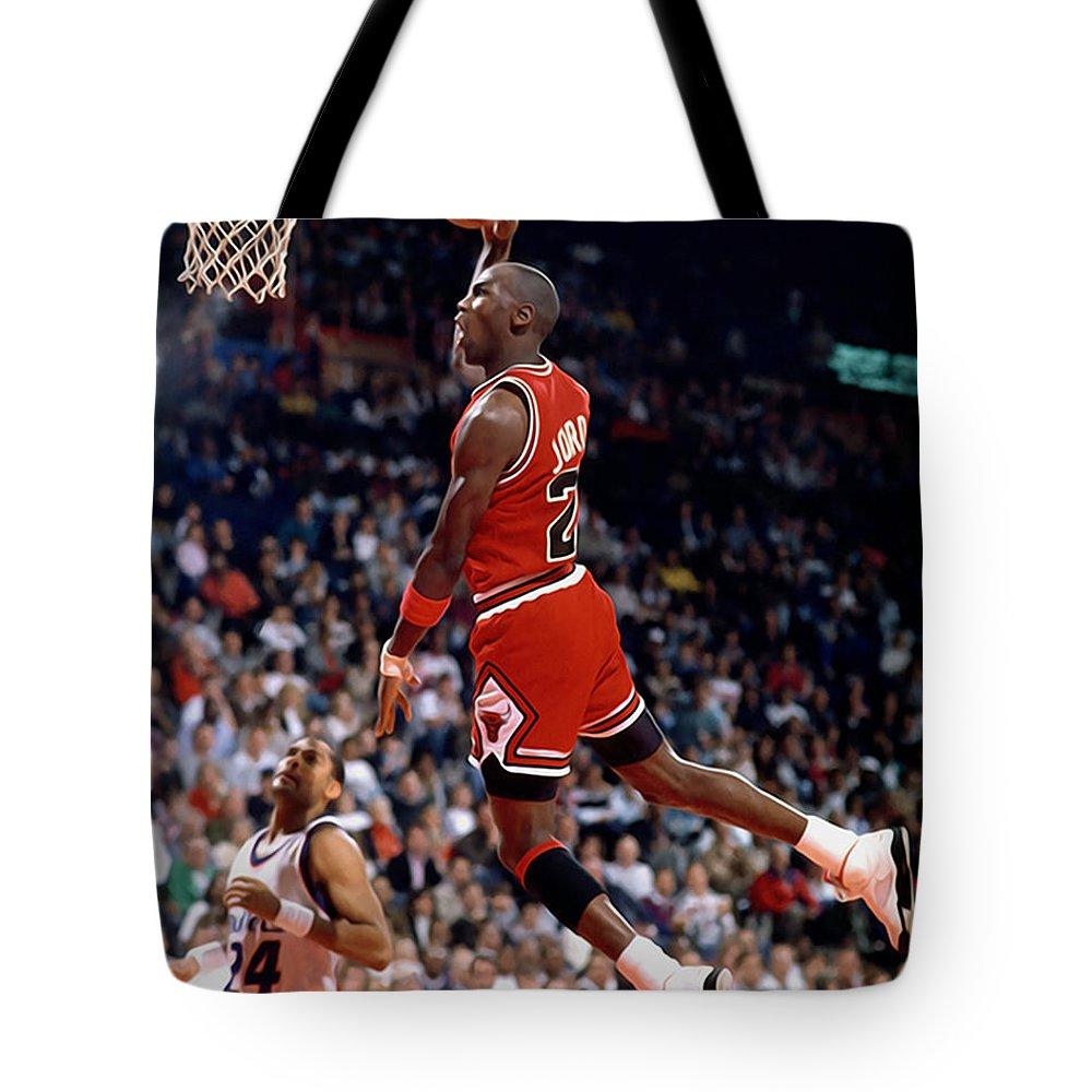 6850eb18787ad1 Michael Jordan Tote Bag featuring the painting Michael Jordan by Sebastian  Plat
