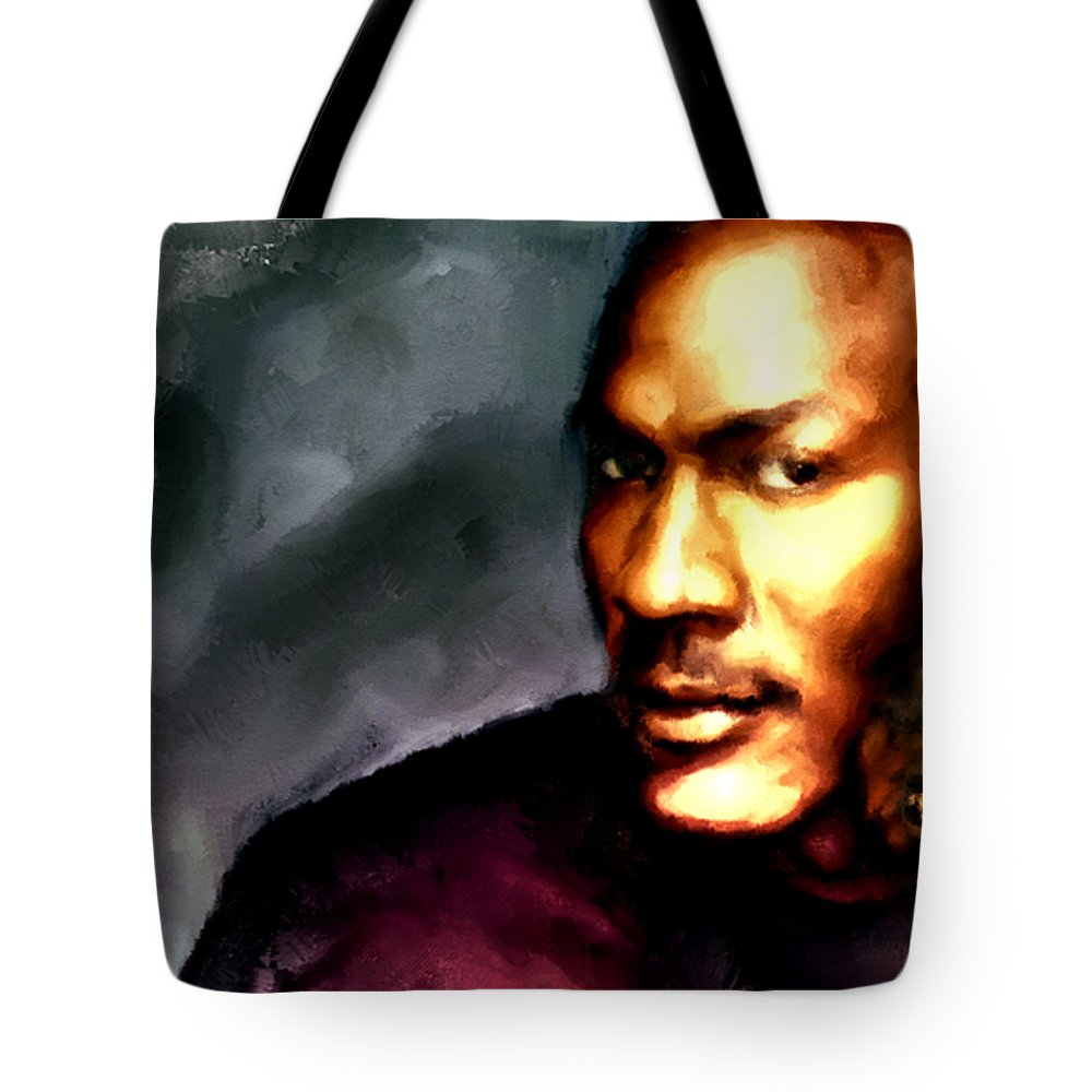 4e292de6574a23 Michael Jordan Tote Bag featuring the painting Michael Jordan Six Rings by Brian  Reaves