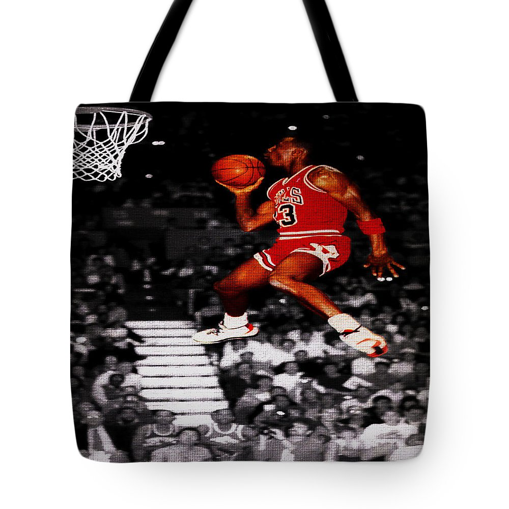 7e8b438c9885 Michael Jordan Tote Bag featuring the digital art Michael Jordan Suspended  In Mid Air by Brian
