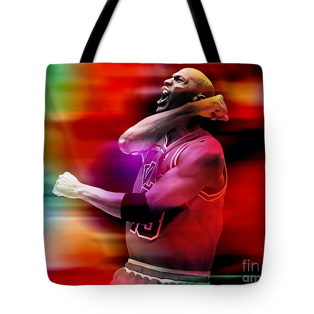Michael Jordan Tote Bag featuring the mixed media Michael Jordon by Marvin Blaine