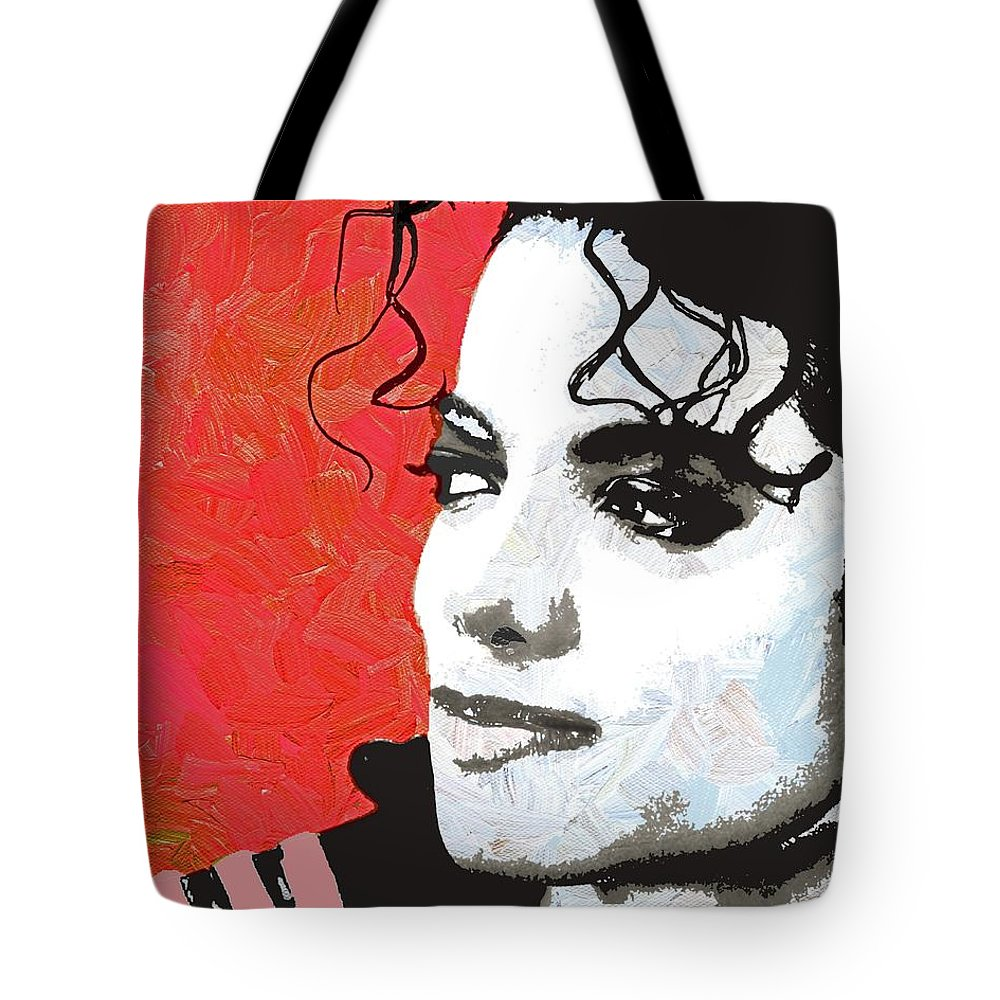 Michael Tote Bag featuring the digital art Michael Red And White by Linda Mears