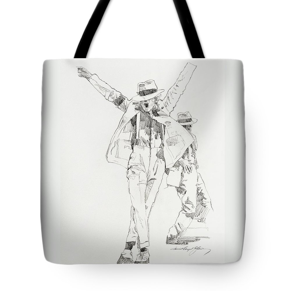 Michael Jackson Tote Bag featuring the drawing Michael Smooth Criminal by David Lloyd Glover