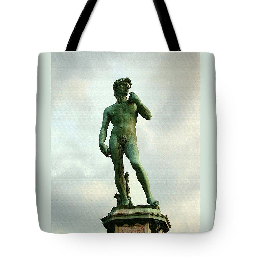 Michelangelos David Tote Bag featuring the photograph Michelangelo's David 2 by Ellen Henneke