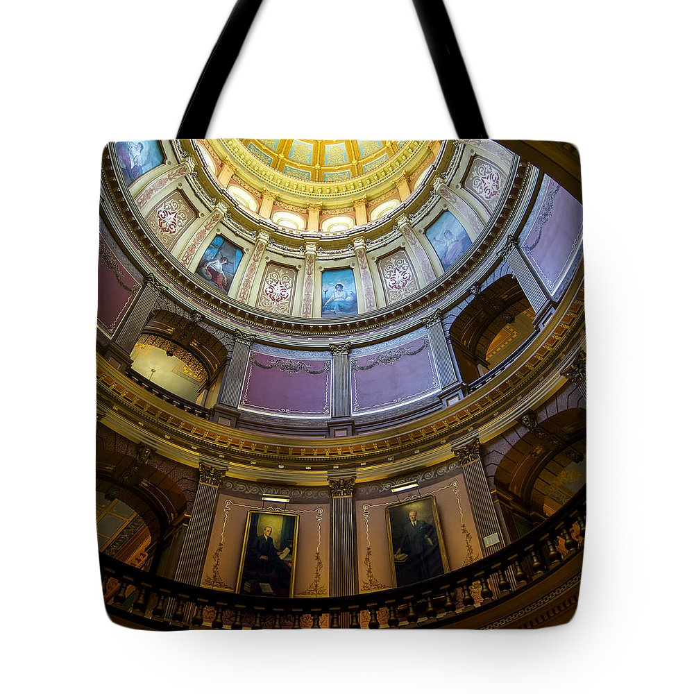 Arches Tote Bag featuring the photograph Michigan Capitol Dome by Gej Jones