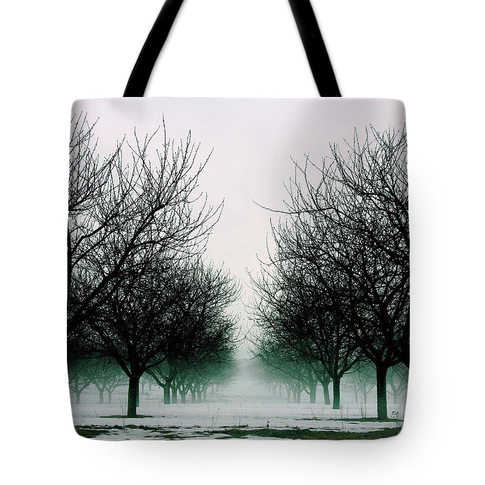 Michigan Tote Bag featuring the photograph Michigan Cherry Trees In Winter by John McGraw
