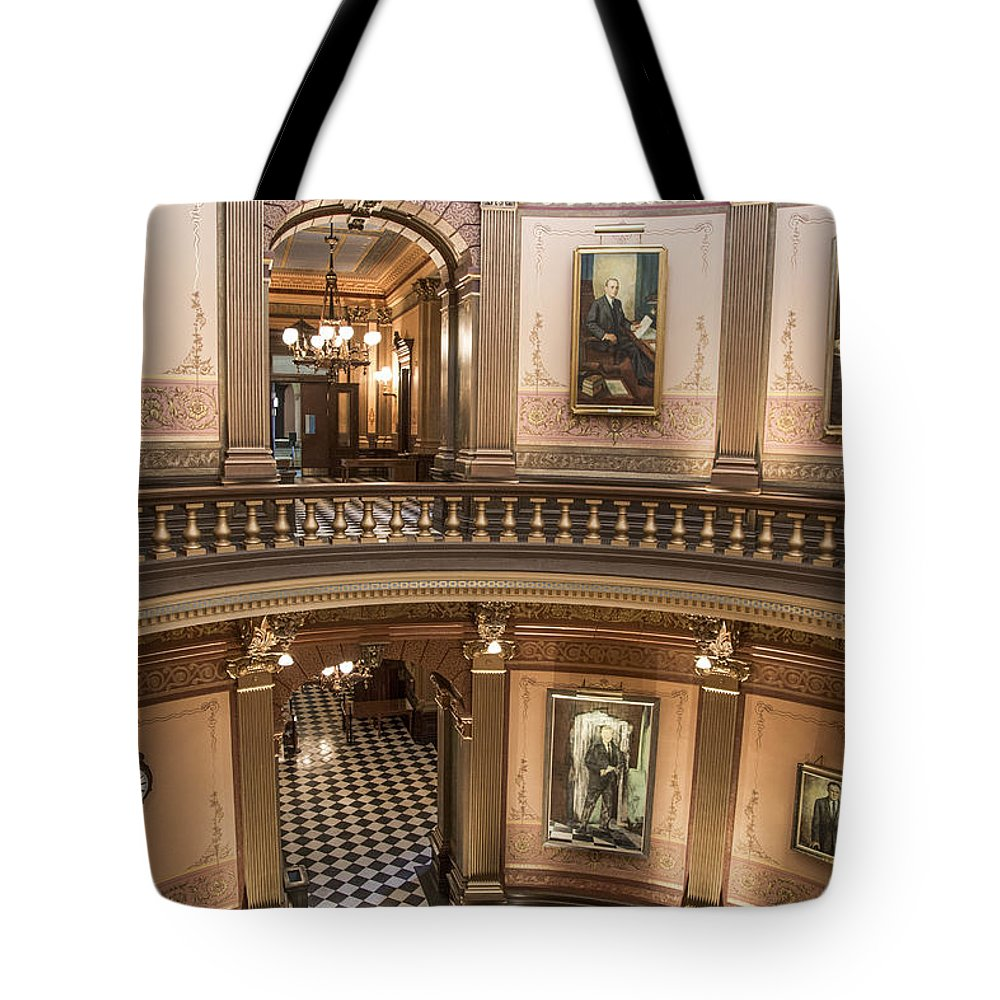 Michigan Tote Bag featuring the photograph Michigan State Capitol 2 Floors Color by John McGraw