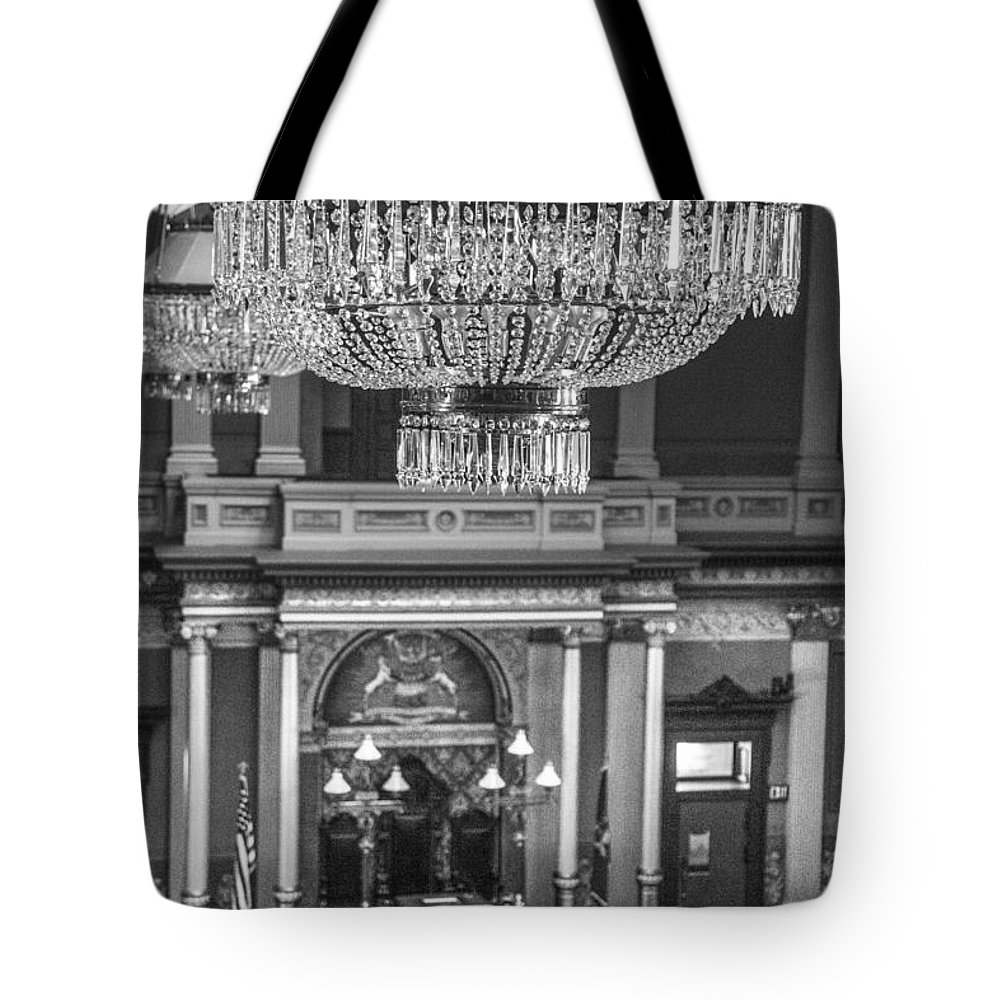 Michigan Tote Bag featuring the photograph Michigan State Capital Chandler by John McGraw