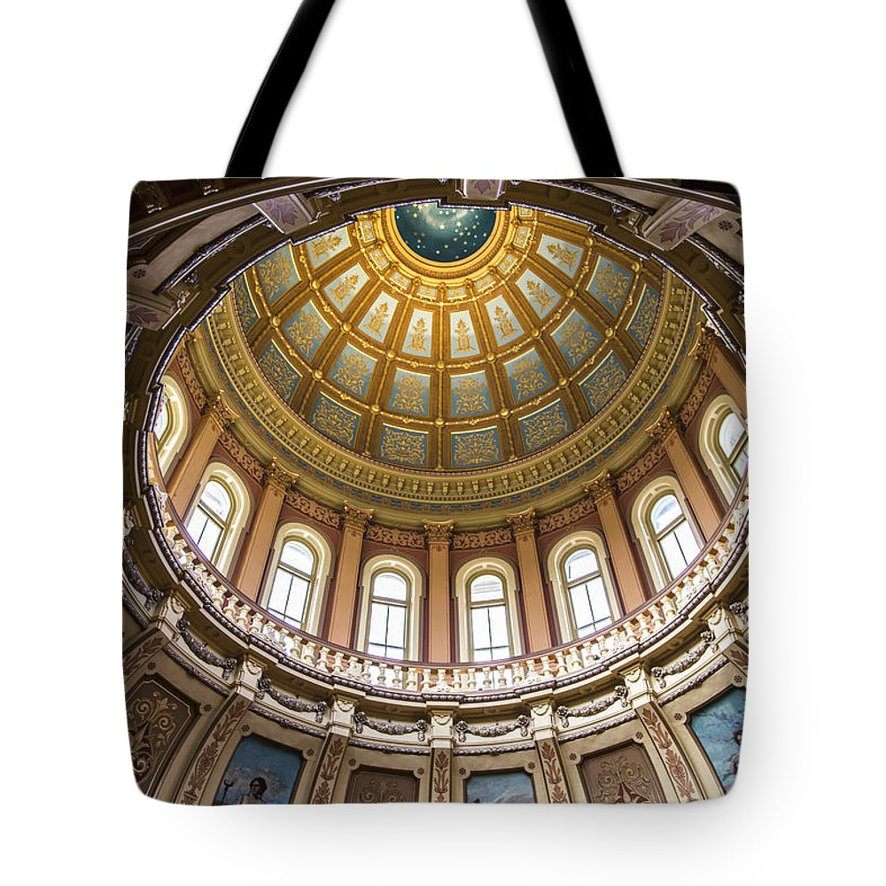 Michigan Tote Bag featuring the photograph Michigan State Capitol Dome In Color by John McGraw