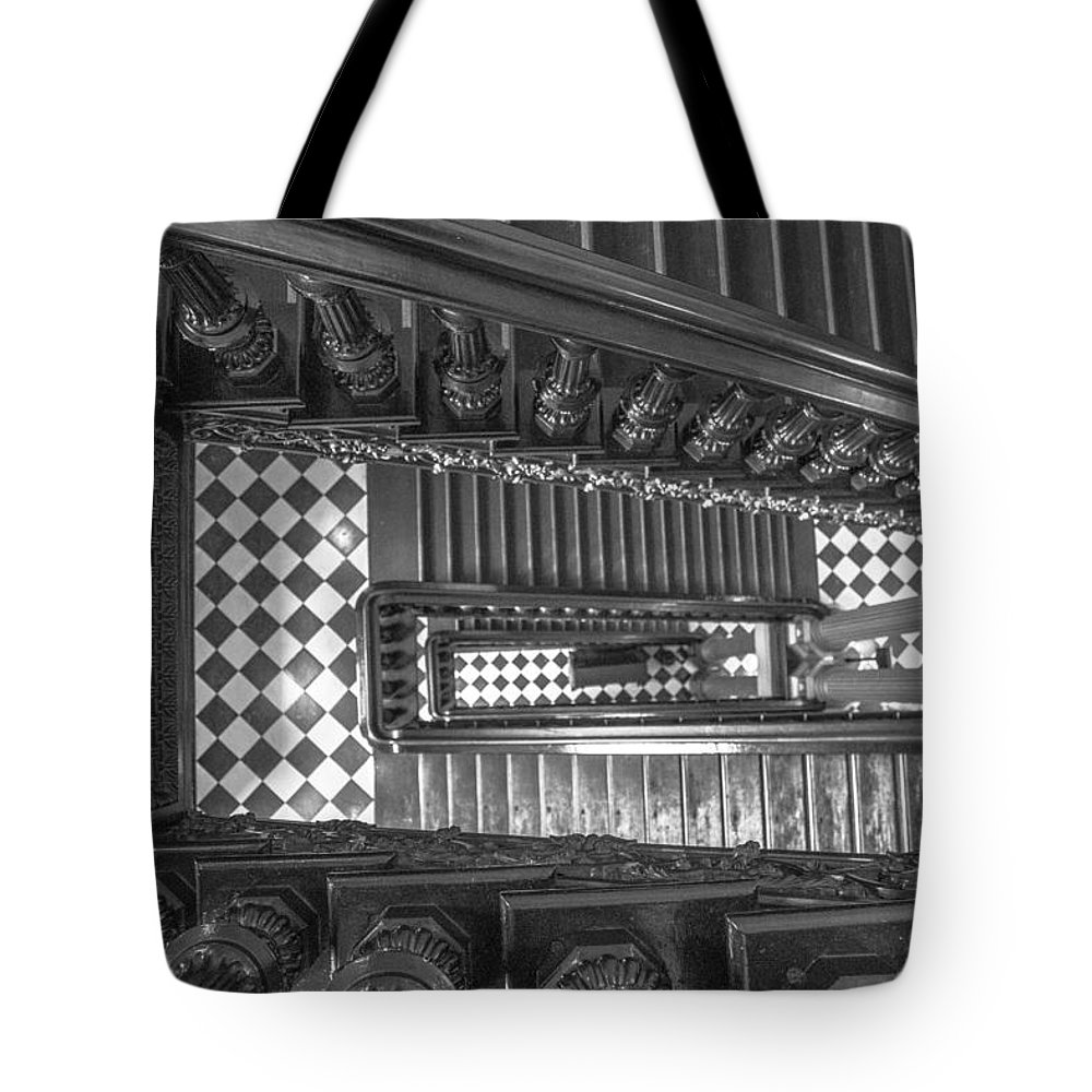 Michigan Tote Bag featuring the photograph Michigan State Capital Stairwell by John McGraw