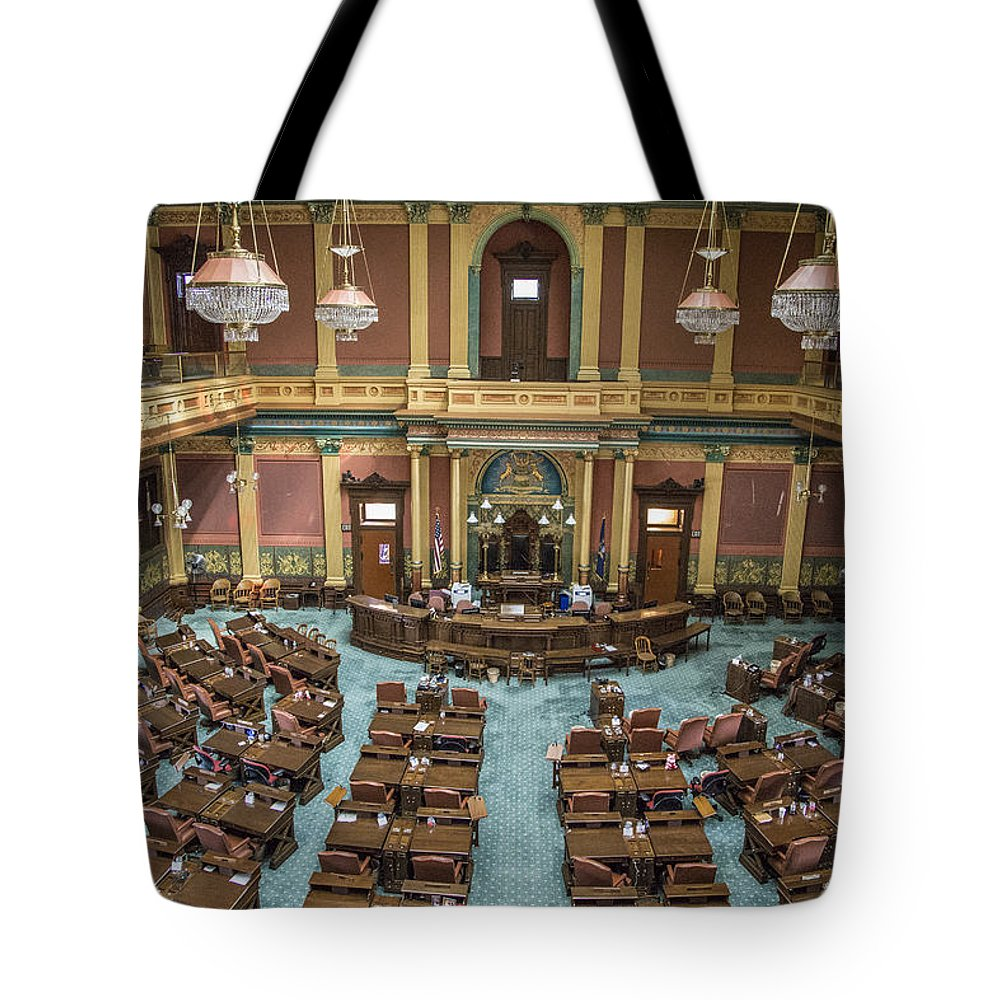 Michigan Tote Bag featuring the photograph Michigan State Senate From Above by John McGraw