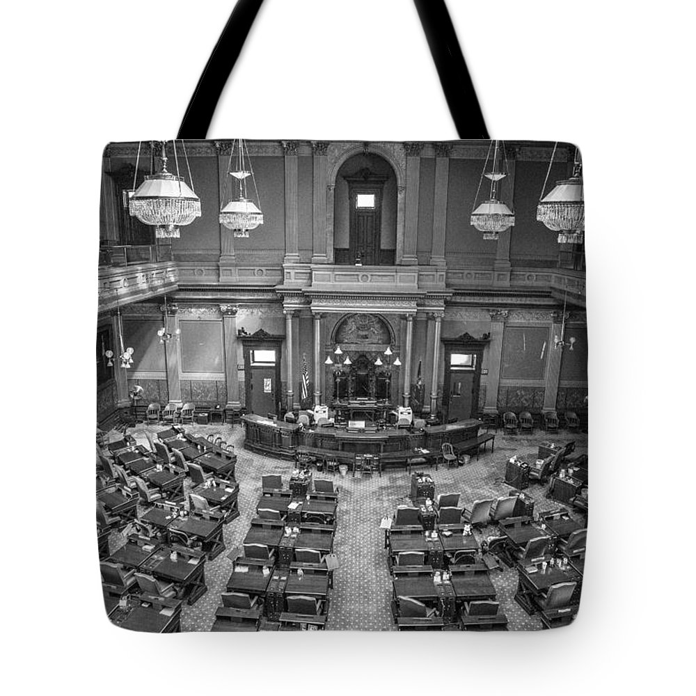 Michigan Tote Bag featuring the photograph Michigan Tate Senate Black And White From Above by John McGraw