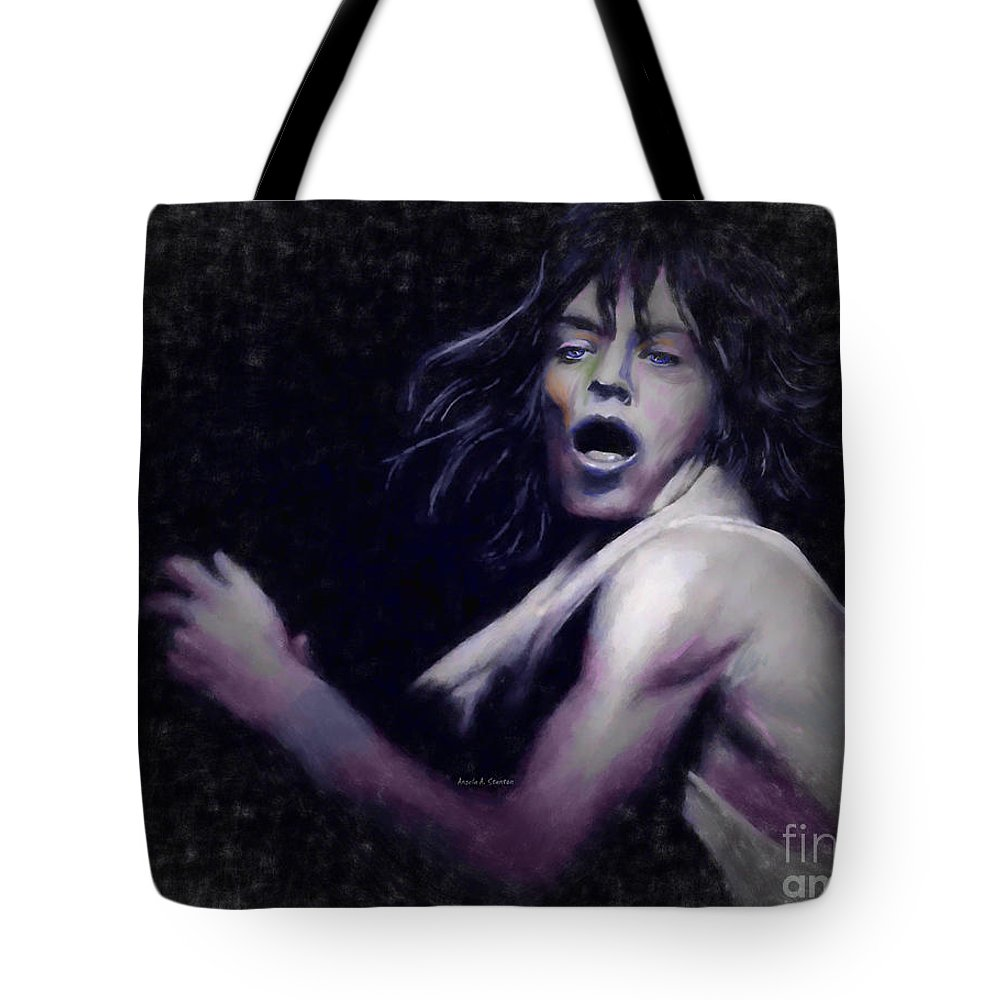 Mick Jagger Tote Bag featuring the pastel Mick by Angela Stanton