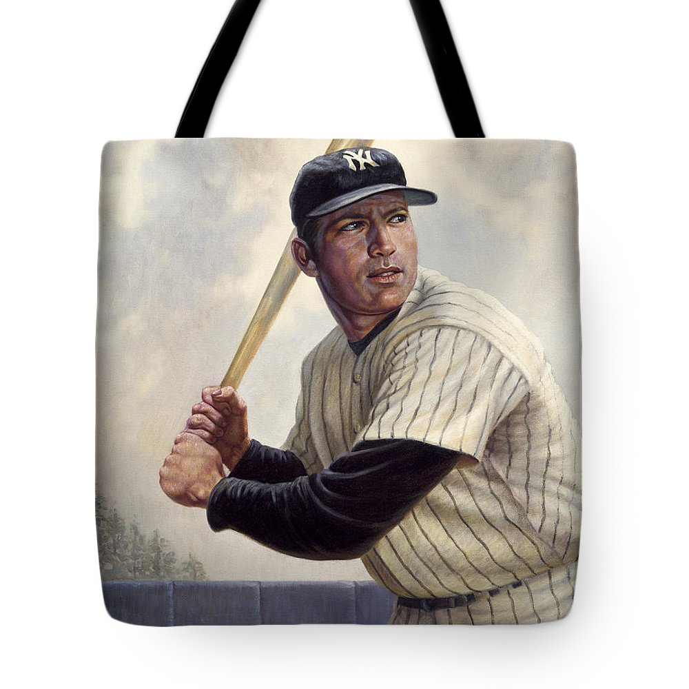Gregory Perillo Tote Bag featuring the painting Mickey Mantle by Gregory Perillo