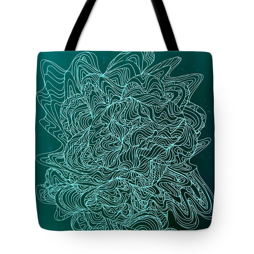 Pen And Ink Drawing Tote Bag featuring the drawing Microbe Maybe by Nancy Kane Chapman