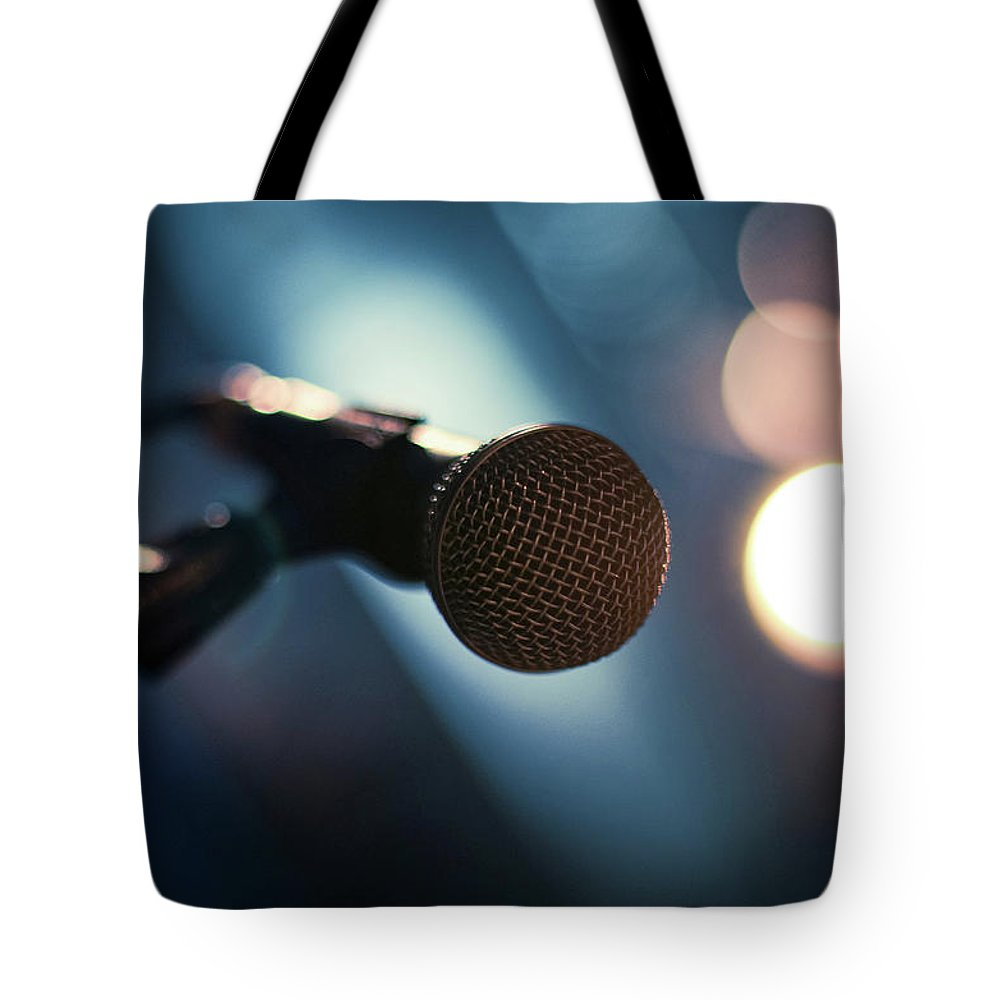 Microphone Stand Tote Bag featuring the photograph Microphone Abstract Close Up In Concert by Alexandre Moreau