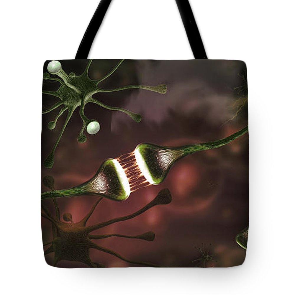 Photography Tote Bag featuring the photograph Microscopic Image Of Brain Neurons by Panoramic Images