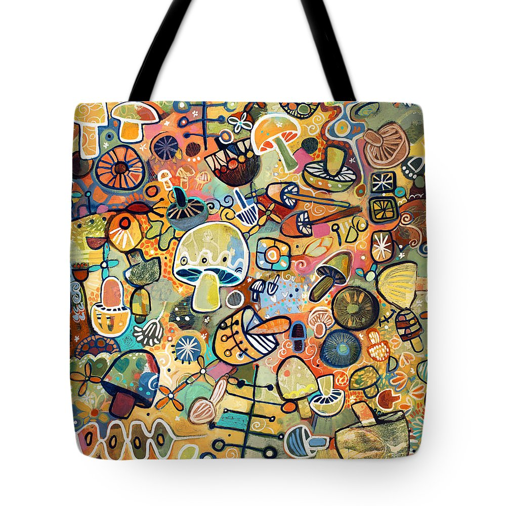 Jen Norton Tote Bag featuring the painting Mid Century Mushroom Madness by Jen Norton