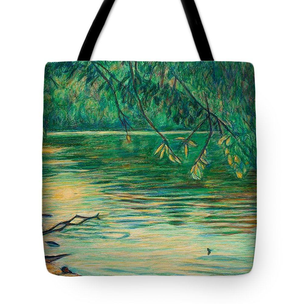 Landscape Tote Bag featuring the painting Mid-spring On The New River by Kendall Kessler