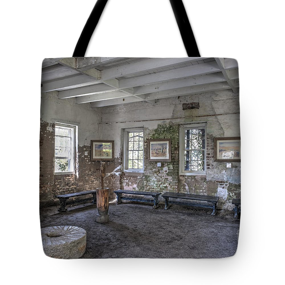 Rive Mill Tote Bag featuring the photograph Middleton Place Rice Mill Interior by Dale Powell