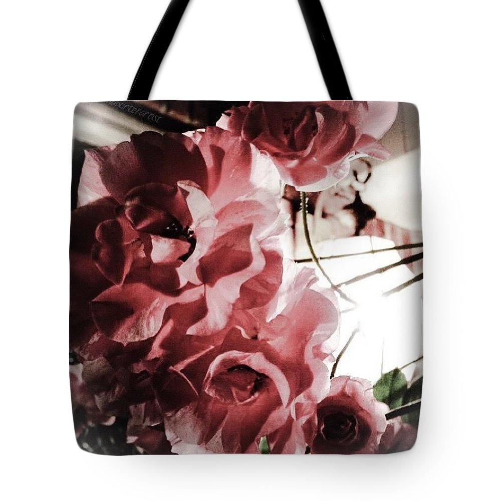 Midnight Climbing Roses In My Garden Tote Bag featuring the photograph Midnight Climbing Roses In My Garden by Anna Porter