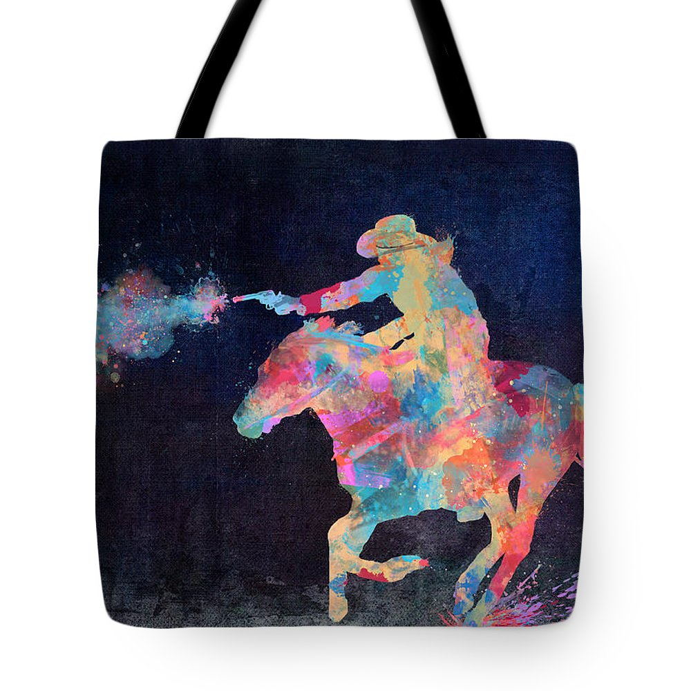Cowgirl Tote Bag featuring the digital art Midnight Cowgirls Ride Heaven Help The Fool Who Did Her Wrong by Nikki Marie Smith