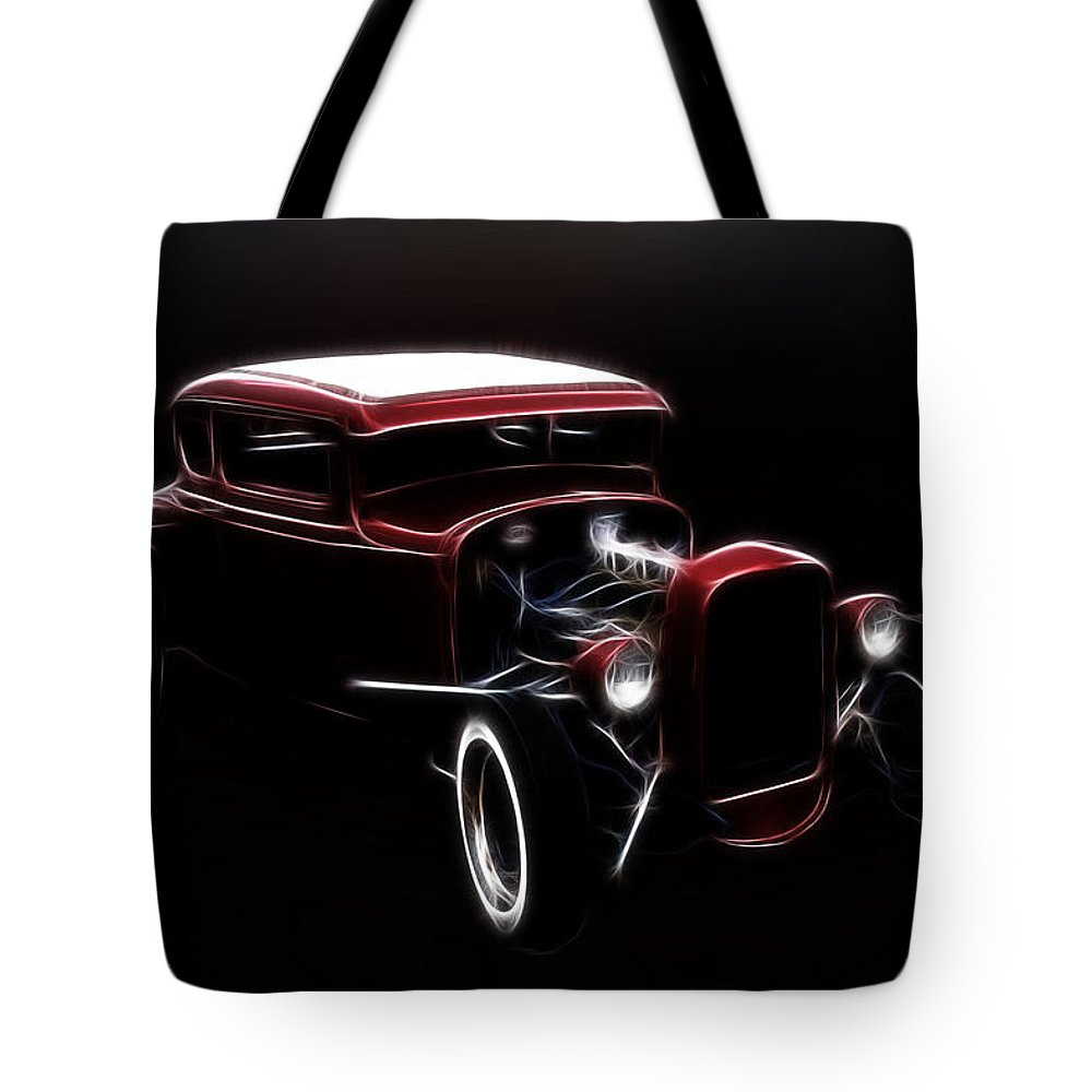 Midnight Tote Bag featuring the photograph Midnight Hot Rod Red by Steve McKinzie