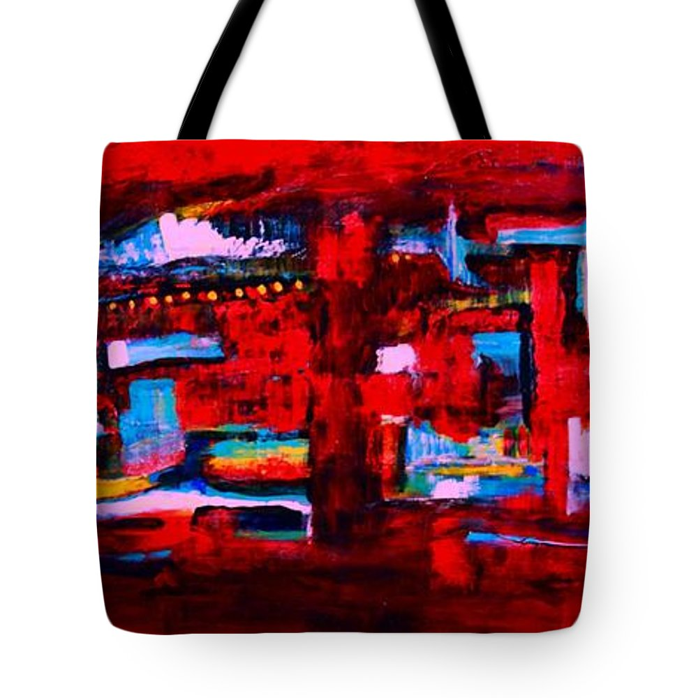 Original Tote Bag featuring the painting Midnight In The City by ElsaDe Paintings