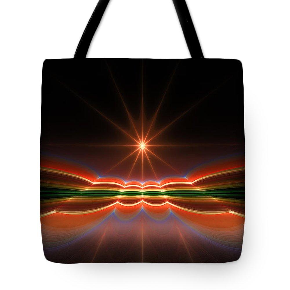 Fractal Tote Bag featuring the digital art Midnight Sun by Gary Blackman