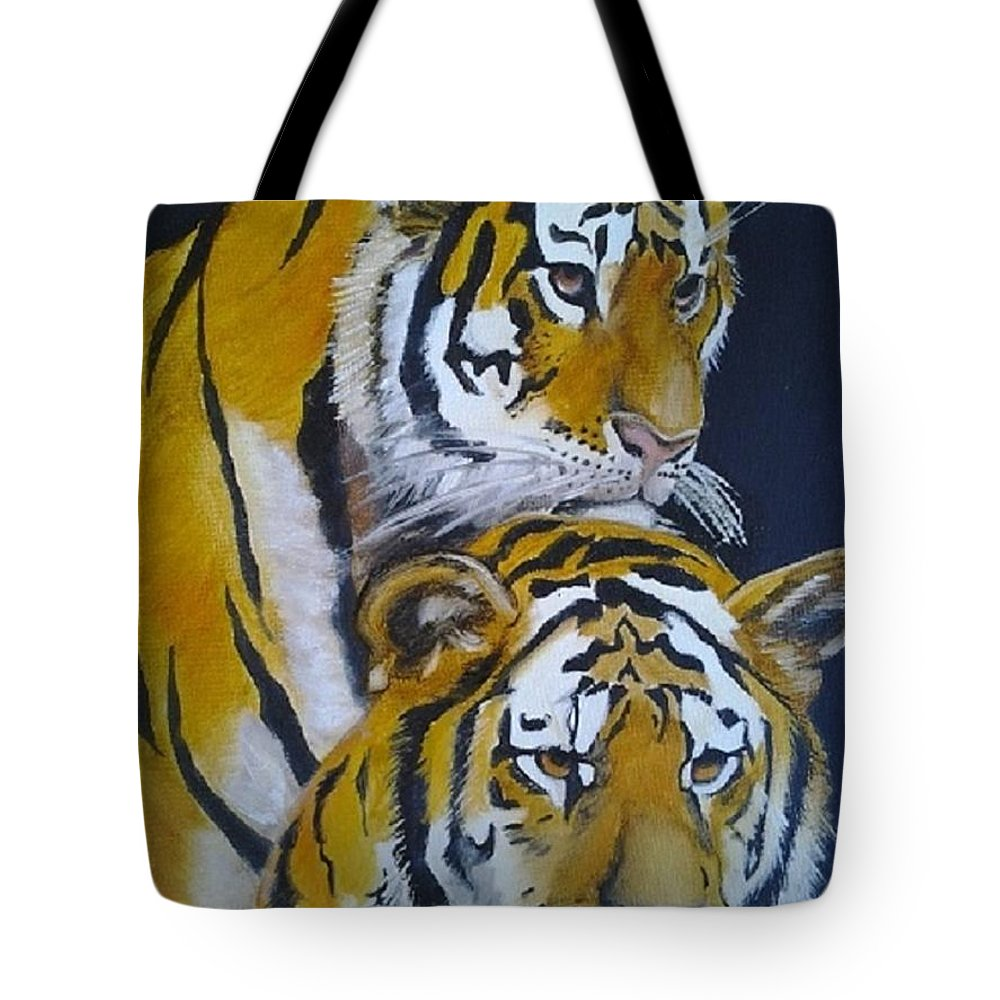 Animal Tote Bag featuring the painting Midnight Watch by Sonia Sorogal Rodriguez