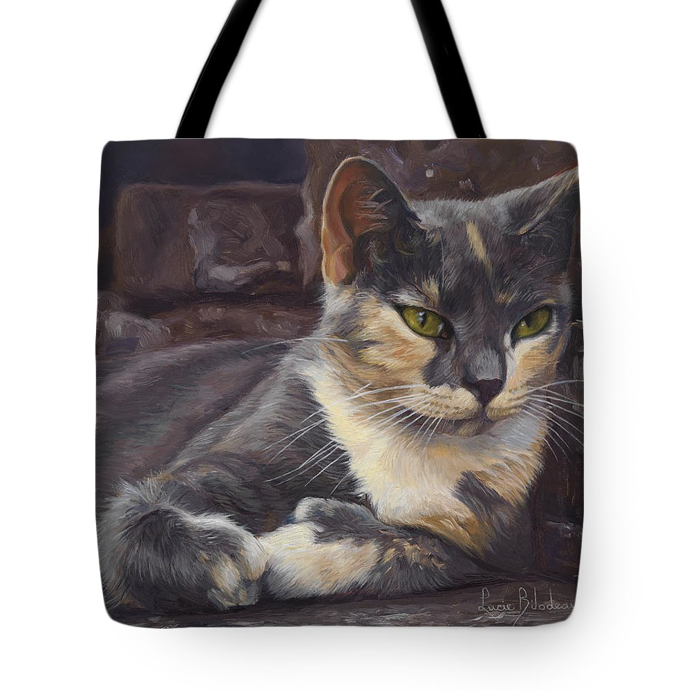 Cat Tote Bag featuring the painting Midsummer Day by Lucie Bilodeau