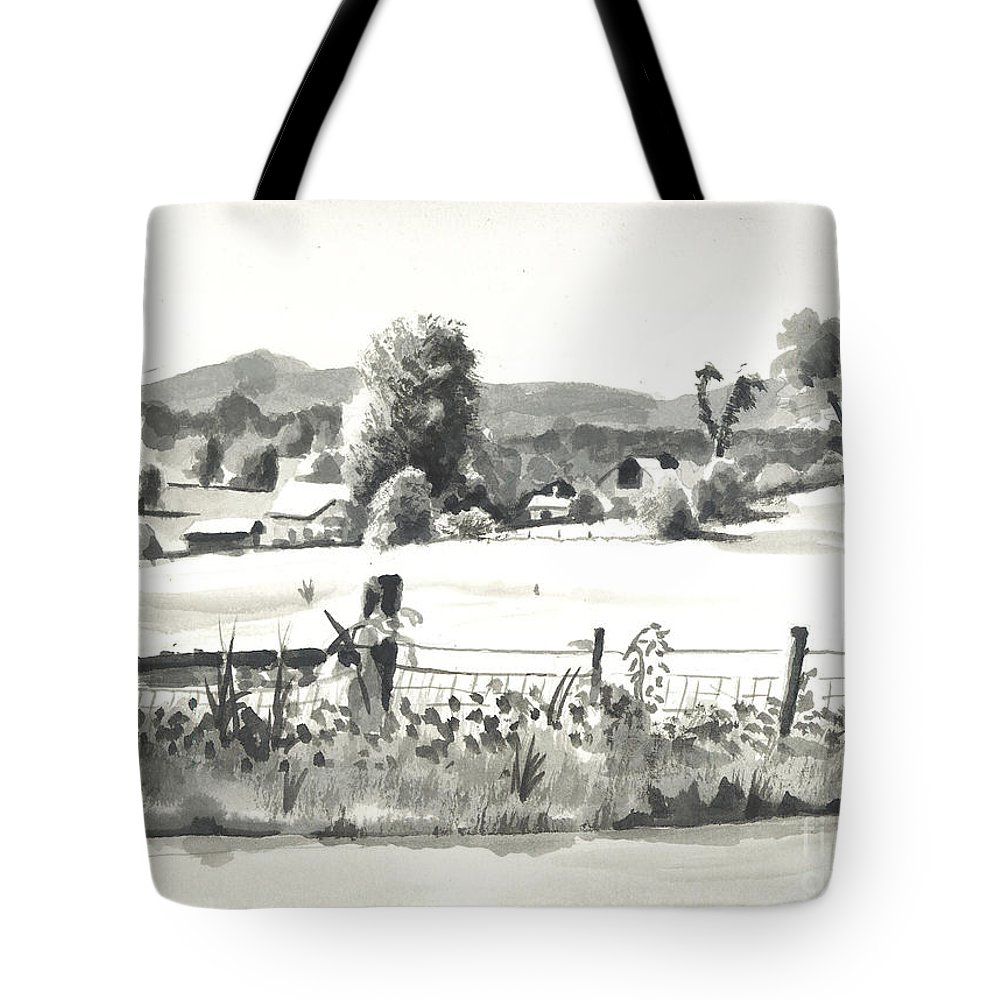 Midsummer View Out Route Jj  No I101 Tote Bag featuring the painting Midsummer View Out Route Jj  No I101 by Kip DeVore