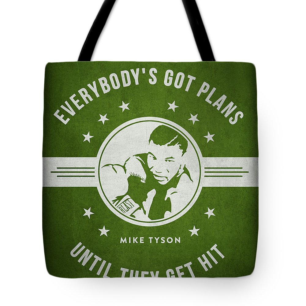 Mike Tyson Tote Bag featuring the digital art Mike Tyson - Green by Aged Pixel