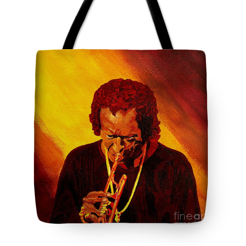 Miles Davis Tote Bag featuring the painting Miles Davis Jazz Man by Anthony Dunphy