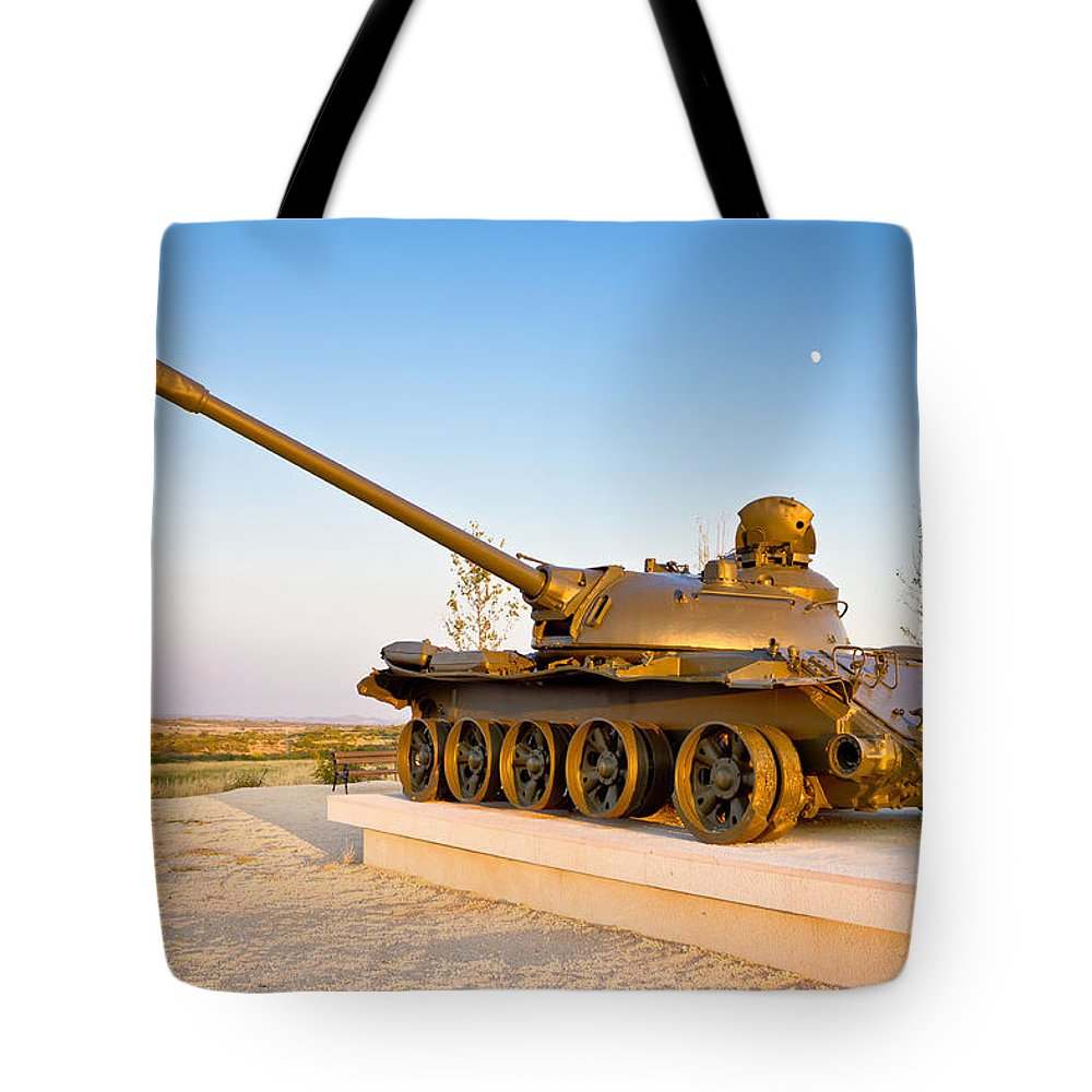 Tank Tote Bag featuring the photograph Military Tank Outdoor Installation View by Brch Photography