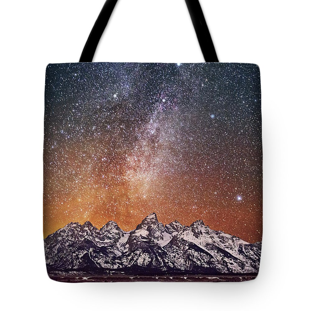 Tranquility Tote Bag featuring the photograph Milky Way Over Grand Teton by Chen Su