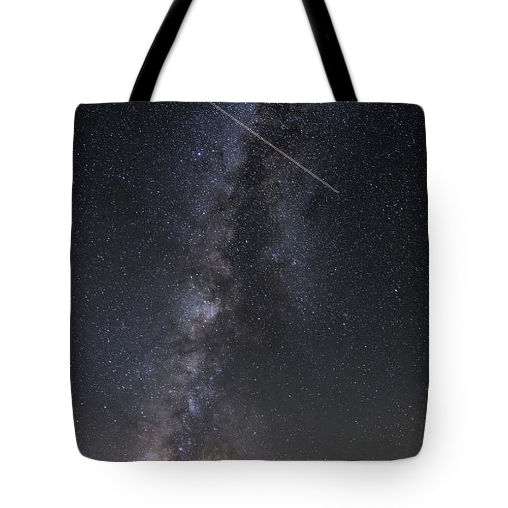 Enchanted Rock Tote Bag featuring the photograph Milky Way Vertical Panorama At Enchanted Rock State Natural Area - Texas Hill Country by Silvio Ligutti