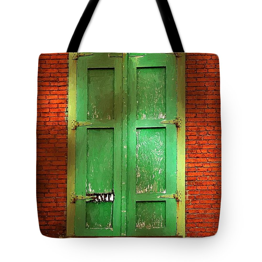Brick Tote Bag featuring the painting Mill Door In Dappled Sunlight by RC DeWinter